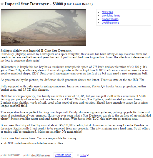 The Things You Find For Sale On Craigslist... - The ...