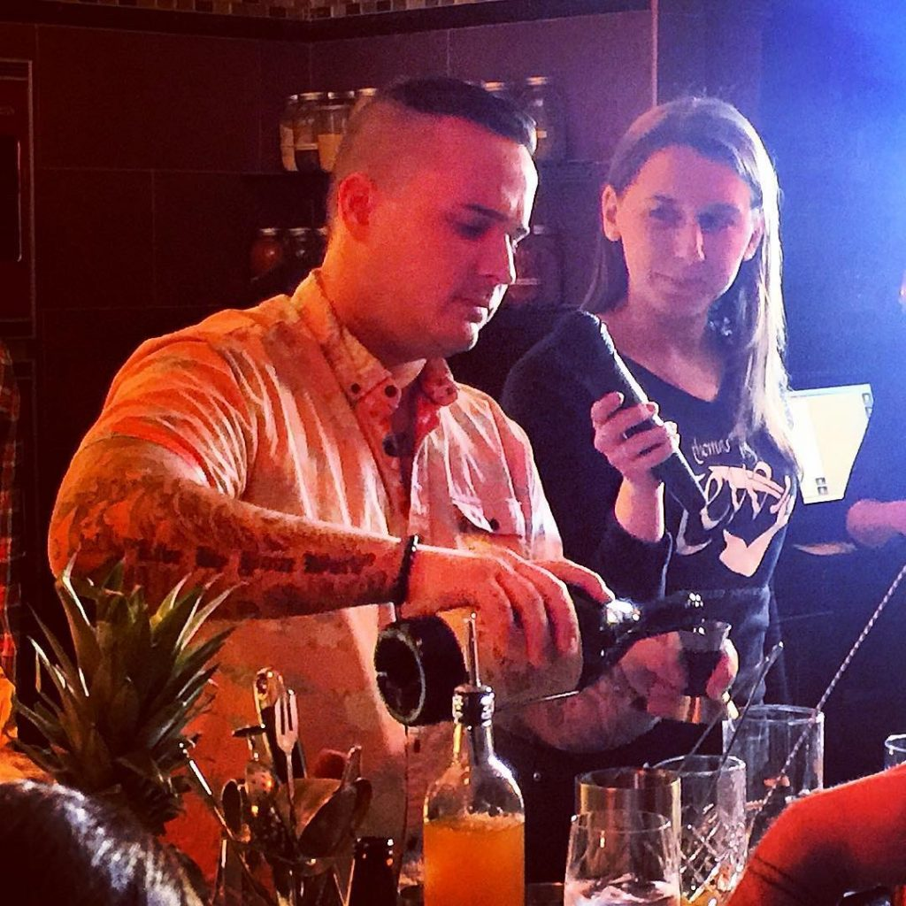 Corey Hayes competing in a Thomas Tew cocktail competition in 2016